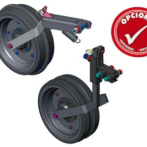 Optional: Compression wheel concave, convex and smooth. Gauge wheel with support concave, convex and smooth.