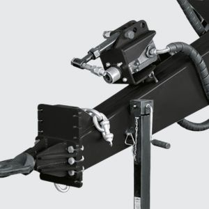 Header with swivel coupler and 3 adjustment points transfer the weight to the chassis. Safety chain