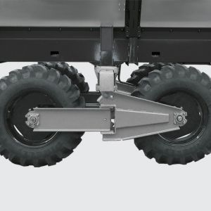 Swing / swivel Tandem running system that allows following the terrain irregularities with gauge opeing from 1.80 to 3.20 meters